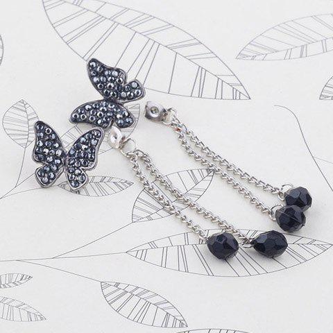 Pair of Rhinestoned Waterdrop Butterfly Earrings - AS THE PICTURE