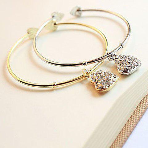 Chic Style Rhinestoned Heart Shape Pendant Embellished Cuff Bracelet - COLOR ASSORTED