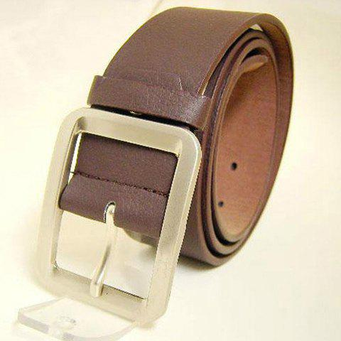 Fashionable Casual Metal Button Belt For Lovers - COFFEE