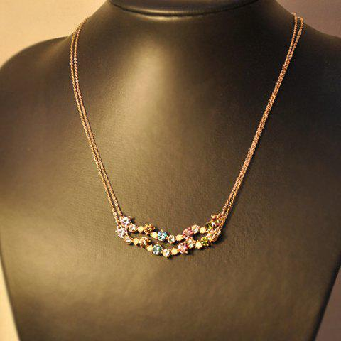 Rhinestone Embellished Double Layered Pendant Necklace - GOLD