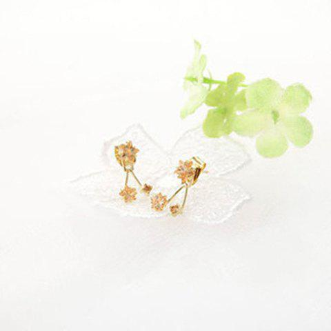 Pair of Sweet Style Flower Shape Stud Earrings For Women - CHAMPAGNE