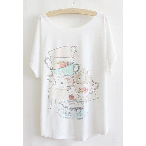 Batwing Sleeves Scoop Neck Cups And Rabbits Print Casual Women's T-Shirt - WHITE ONE SIZE