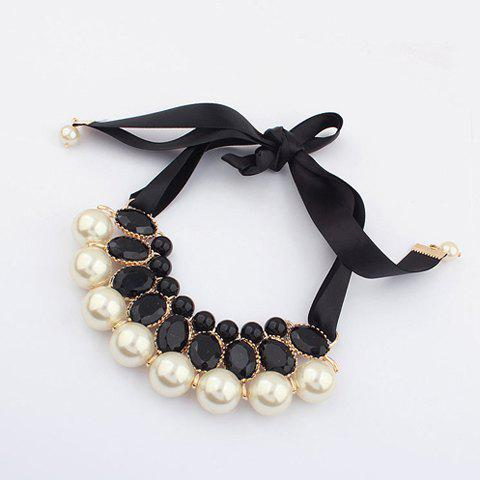Faux Crystal Pearl Ribbon Necklace - BLACK