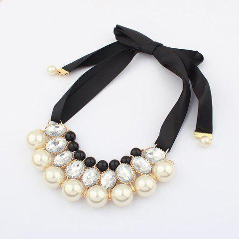 Faux Crystal Pearl Ribbon Necklace - WHITE