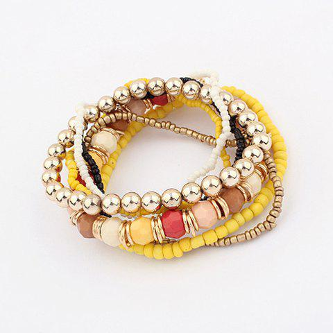 7PCS Of Bohemian Style Colorful Diverse Beads Bracelets - COLOR ASSORTED