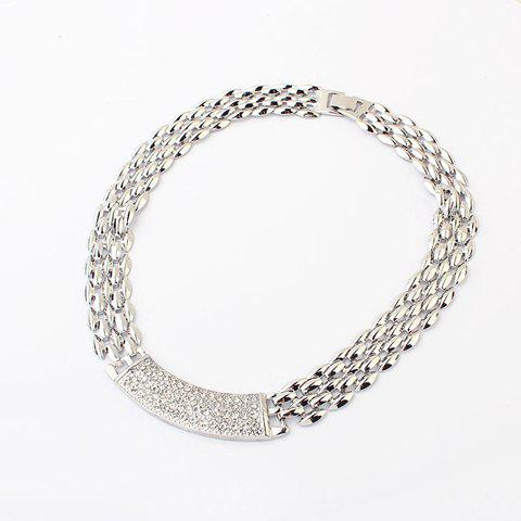 Alloy Rhinestoned Choker Necklace - SILVER