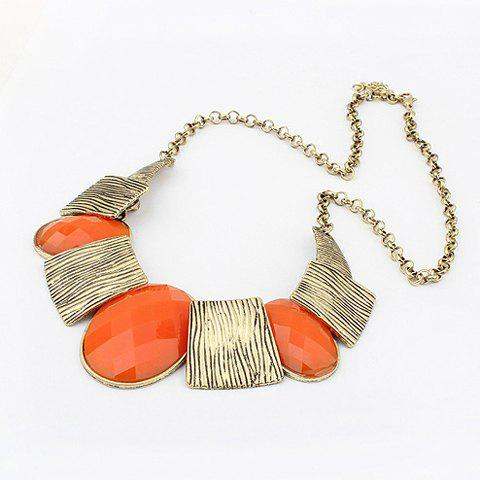Exaggerated Chic Style Oval Faux Gem Stripe Square Pendants Women's Alloy Necklace - ORANGE