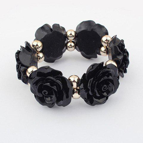 Beads Embellished Rose Shape Bracelet - BLACK