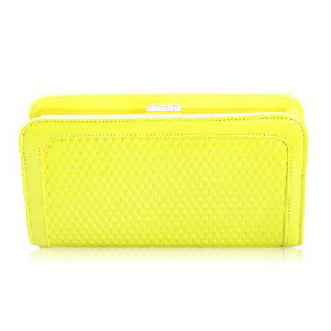 Simple Style Patent Leather and Pure Color Design Women's Evening Handbag - YELLOW