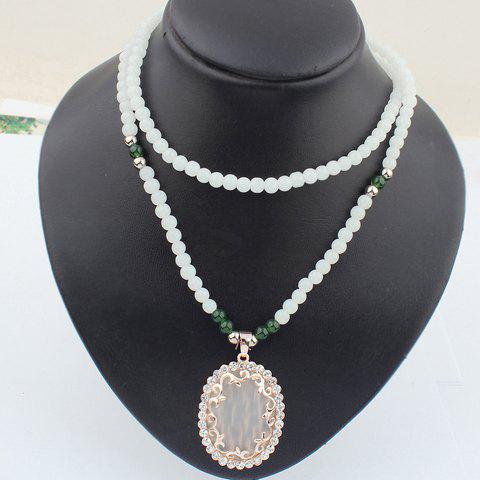 Oval Faux Gem Decorated Beading Sweater Chain Necklace - APRICOT