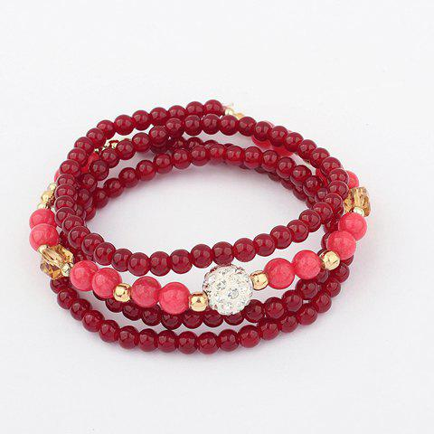 Ethnic Style Multi-Layered Beading Bracelet - PURPLISH RED