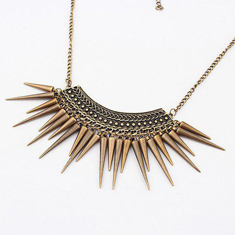 Vintage Exquisite Fringed Rivet Pendant Alloy Necklace For Women - AS THE PICTURE