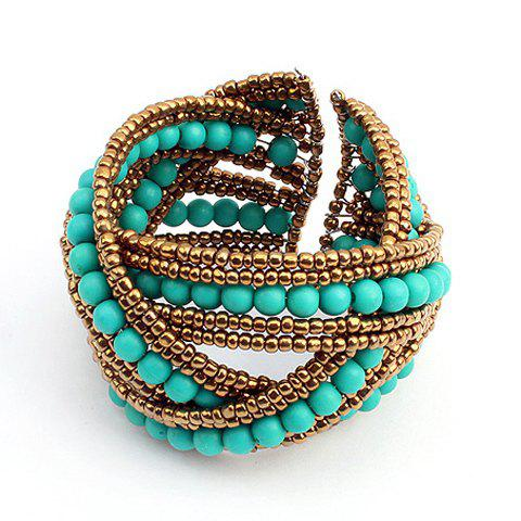 Crossed Bicolor Beading Cuff Bracelet - AS THE PICTURE
