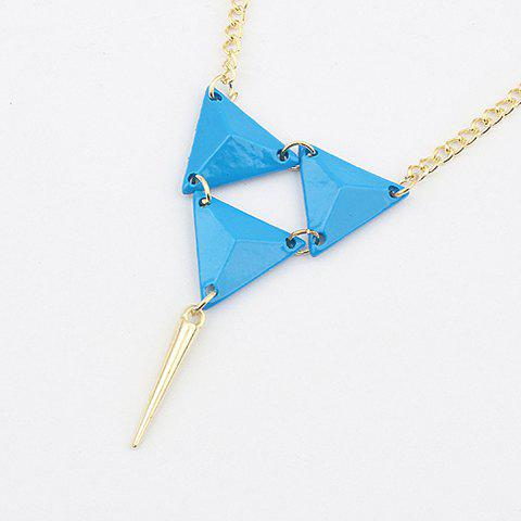 Exquisite Solid Triangle Pendant Alloy Necklace For Women - BLUE