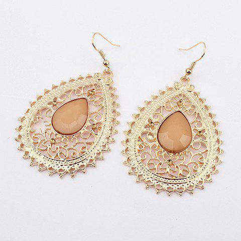 Pair of Exquisite Acrylic Gemstone Embellished Openwork Fringed Earrings For Women - APRICOT