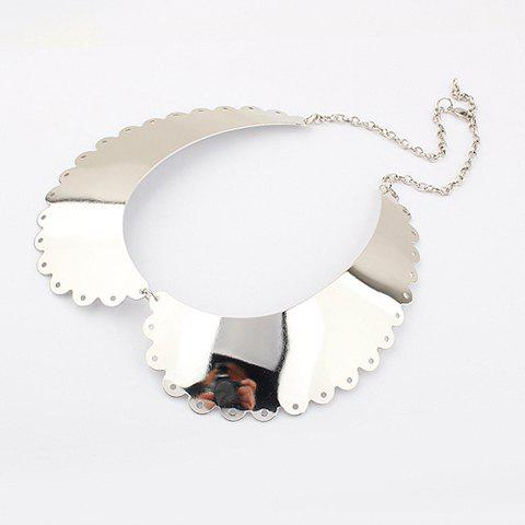 Simple Style Metallic Nappa Lace Collar Necklace -  SILVER