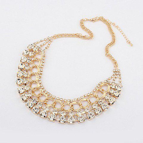 Chic Style Rhinestoned Camber Alloy Choker Necklace - GOLD