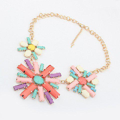 Characteristic Multicolor Flower Shape Pendants Alloy Necklace