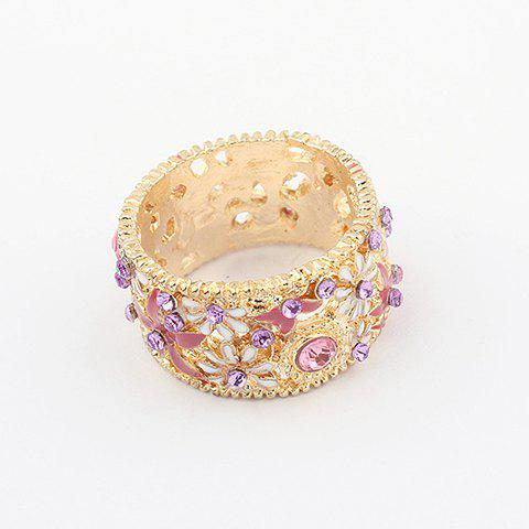Gorgeous Rhinestoned Flower Pattern Decorated Alloy Ring - ONE SIZE GOLD
