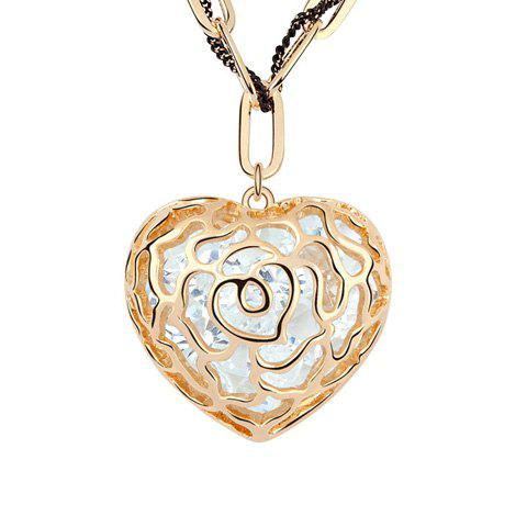 Cute Style Embellished Heart Shape Pendant Sweater Chain Necklace