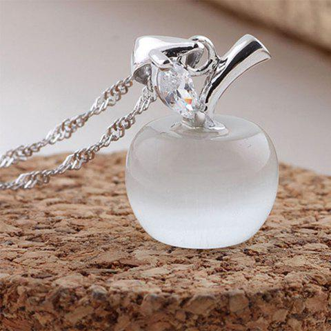 Faux Opal Apple Shaped Pendant Necklace - AS THE PICTURE