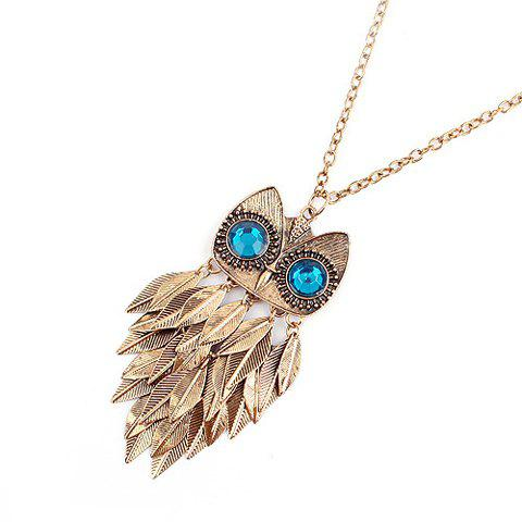 Faux Gem Feather Owl Pendant Necklace - AS THE PICTURE