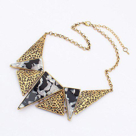 Triangle Stone Embellished Alloy Pendant Necklace - BLACK