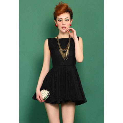 Women's Graceful Backless Sleeveless Lace Club Dresses - BLACK ONE SIZE