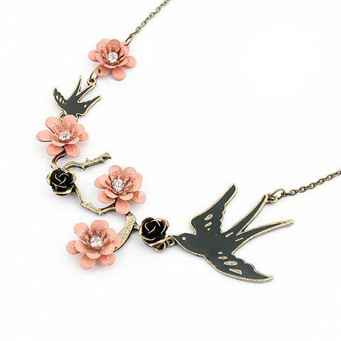 Refreshing Elegant Pink Flower and Bird Shape Women's Pendant Necklace