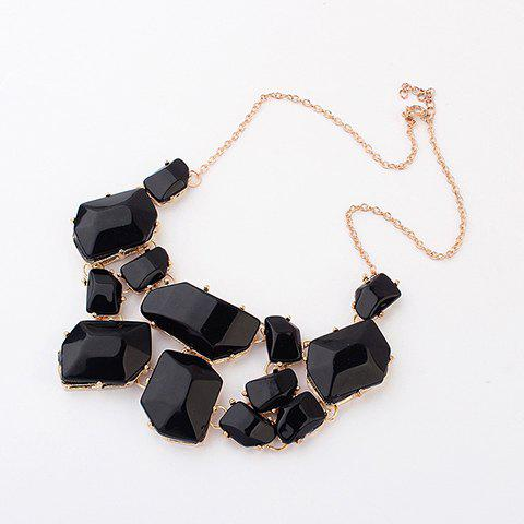 Irregular Geometric Faux Gems Design Necklace - BLACK