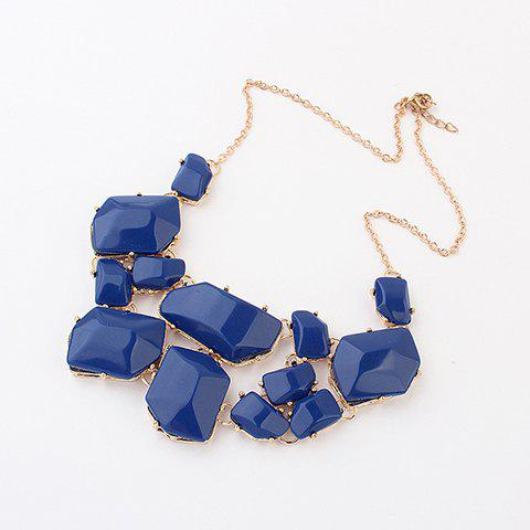 Irregular Geometric Faux Gems Design Necklace - SAPPHIRE BLUE