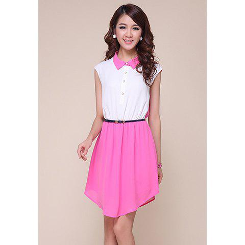 Retro Style Color Block Polo Neck Women's Chiffon Dress - AS THE PICTURE S
