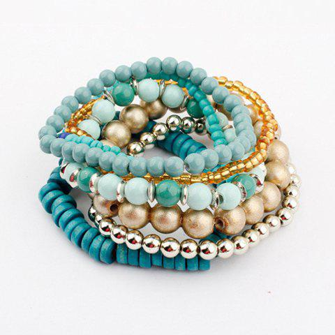 Living Color Cute Muulti-Layered Bead Bracelet For Women - BLUE