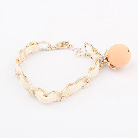 Cute Rhinestoned Colored Ball Pendant Leather Chain Embellished Bracelet For Women - PINK