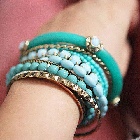 9PCS of Ethnic Strings Embellished Multi-Layered Bracelets - BLUE/GREEN