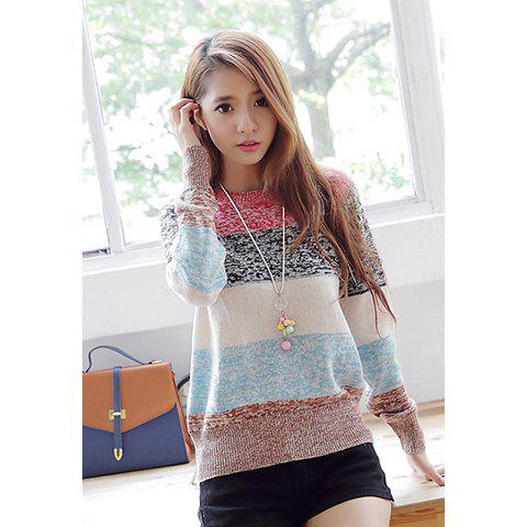 Refreshing Style Color Block Round Neck Long Sleeves Acrylic Women's Sweater - AS THE PICTURE ONE SIZE