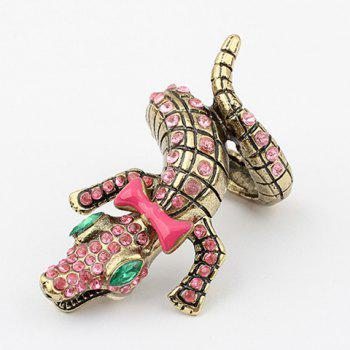 Crocodile Shape Bowknot Rhinestone Ring
