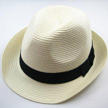 Chic Style Solid Color Peaked Fedora Straw Hat