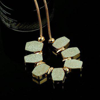 Rhinestoned Alloy Hexagon Pendant Necklace