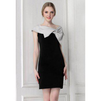 Bow Collar Black Party Dress