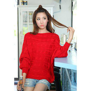 Modern style bat wing sleeves scoop neck acrylic fibers solid color