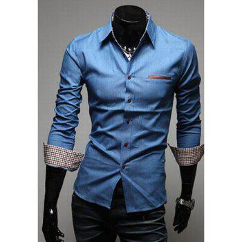 Relaxed Style Lapel Collar Pockets Design Bleach Wash Long Sleeves Denim Shirt For Men - LIGHT BLUE L