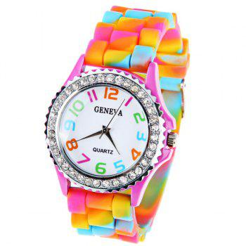 Geneva Quartz Watch 12 Arabic Number Indicate Rubber Watch Band for Women - Colorful