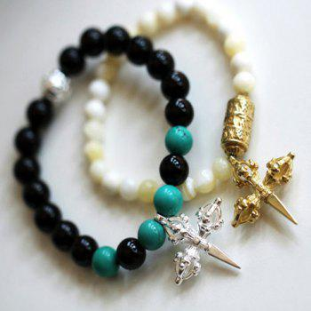 Cross Shape Pendant Design Beads Bracelet