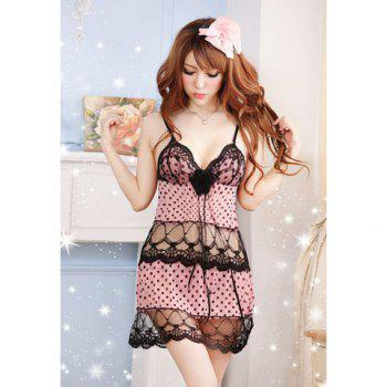 Women's Sexy Polka Dot Print Lace Splicing Babydoll