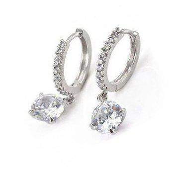 Pair of Embellished Rhinestone Decorated Round Pendant Hoop Earrings