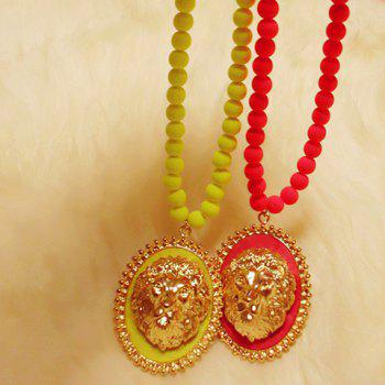 Chic Style Lion Head Round Pendant Sweater Chain Necklace - COLOR ASSORTED COLOR ASSORTED