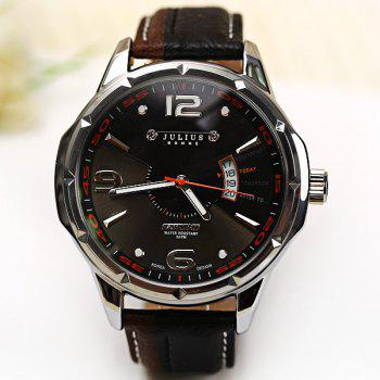Julius Quartz Watch with Numbers Strips Dots Indicate Leather Watch Band for Men - BLACK