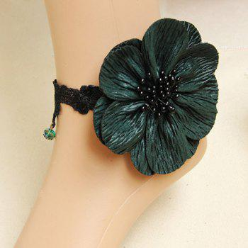 Exquisite Bead Embellished Big Flower Lace Anklet For Women