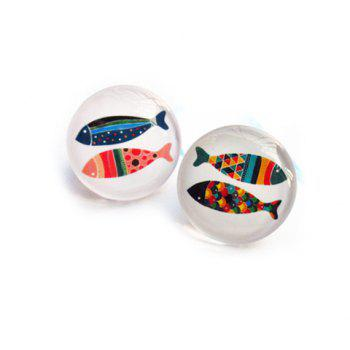 Pair of Fish Print Faux Crystal Round Brooches